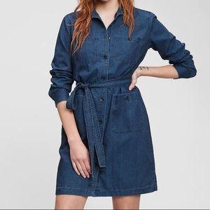 GAP 100% Cotton Chambray Midi Long Sleeve Dress